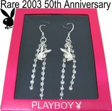 RARE 50TH ANNIVERSARY PLAYBOY Earring Silver Swarovski Crystal Long Dangle Bunny