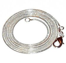 """CN419 Snake .925 Sterling Silver-Plate Lobster Clasp 20"""" 1.2mm Chain Necklace"""