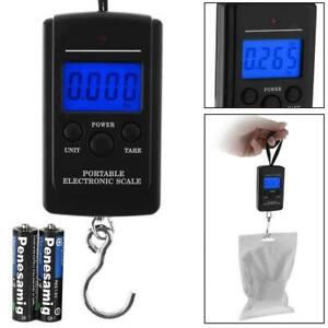 40kg Portable Digital Weighing Hanging Travel Luggage Fishing Scales + BATTERIES