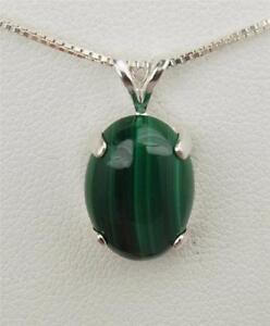Malachite 7 ct Oval Cabochon Pendant / Necklace - Sterling Silver