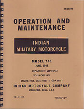 TM10 1485 ~Indian WWII Motorcycle 741 ~ Operation & Maintenance Manual ~ Reprnt