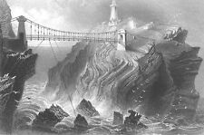 Wales, ANGLESEY Holy Island SOUTH STACK LIGHTHOUSE ~ 1840 Art Print Engraving
