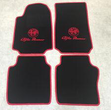 Autoteppich Fußmatten für Alfa Romeo 75 schwarz rot 85'-92' Logo mit Schrift Neu