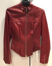 Karen Millen red leather jacket fitted corset style size 10 or fits 8
