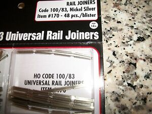 Atlas HO Scale Code 100/83 Nickel Silver Rail Joiners 48pk  #170  BobTheTrainGuy
