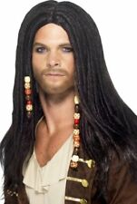 Mens Pirate Black Wig With Beads Fancy Dress Costume Accessory