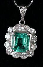 1.57 ct Natural AGL Cert. Emerald 18K White Gold w/12 Diamonds, Pendant & Chain