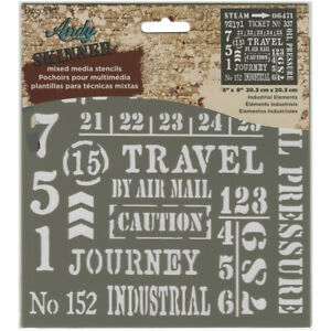 Deco Art Andy Skinner Mixed Media Industrial Elements Stencil, Grey, 8 x 8-inch