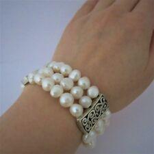 Armband 19cm aus Echten Perlen Creme-Weiß Barock 8mm, Dreireihig TOP
