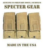SPECTER GEAR 273 COYOTE USMC US MILITARY MOLLE TRIPLE RIFLE MAG POUCH SHINGLE