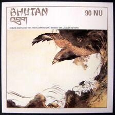 2002 MNH BHUTAN ART STAMPS SOUVENIR SHEET JAPANESE ZESHIN HAWK CARRYING MONKEY