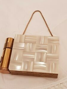 Vintage Mother of Pearl Party Case Compact/Lipstick & Cigarette Holder