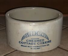 """BELCO Antique CROCK Creamed Cottage Cheese 8.5"""" Belle Isle Michigan DETROIT Old!"""