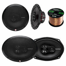 "2x Rockford Fosgate 6.5"" and 2x 6x9"" inch 3-Way Car Coaxial Speaker, + 50Ft Wire"