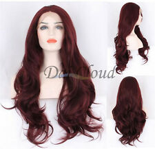 Hot Sale Women Long Ombre Red Wine Lace Front Curly Hair Synthetic Full Wig Wigs