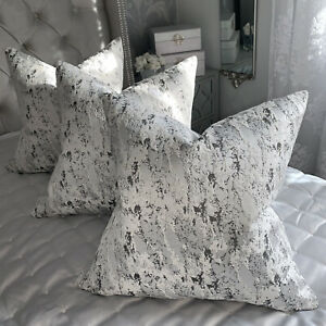 """Cushion Cover 16"""" Mellow Designer Fabric Marble Effect Grey Black White Silver"""