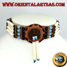 Collana girocollo indiani d'America in osso e perline celeste e nere