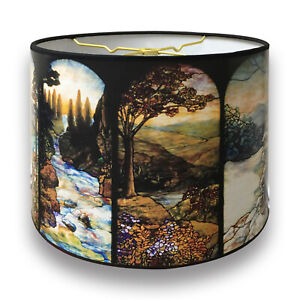 Lampshade Seasons Stained Glass Digital Print - Custom Made in USA