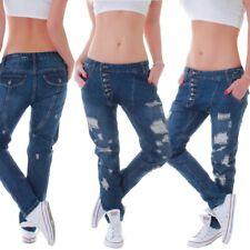 NUOVO Donna Jeans Pantaloni Lunghi Cavallo Basso Harem Pantaloni hüftjeans Pantaloni Boyfriend HAREMS Pantaloni cavallo basso