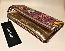 BEBE Metallic Rose Gold and Tiger Print Make-up / Travel / Documents Case (NEW)