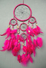 11 cm x 40 cm Pink Dreamcatcher Traumfänger Träume Kauri Muschel Shell Windspiel