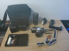 Olympus om10 35mm Camera Bundle w/ 3 Lenses,Flash,Manual Adapter,Case,Strap