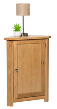Small Oak Corner Storage Cupboard | Low Cabinet with Shelf | Solid Wood Unit