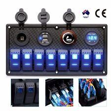 12/24V 8 Gang Waterproof Rocker Switch Panel Control Car Marine Boat Voltmeter
