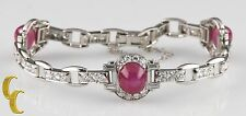 16.00 carat Star Ruby and Diamond 18k White Gold Bracelet 6.5 inches