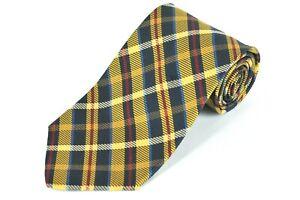 Jos A Bank Tie Gold Navy & Red Plaid Woven Silk Necktie 58 x 3.75 in.