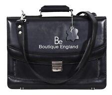 5996 Black Glaze Mesenger Shoulder Laptop Office Briefcase Leather Bag