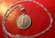"""Classic 20th century French Maiden Franc Pendant on a 30"""" 925 Silver Wavy Chain"""