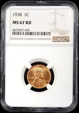 1938 Lincoln Cent graded MS 67 RD by NGC!