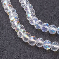 10 x Clear Faceted Abacus Pearl Luster Plated Crystal Glass Beads Strands 6x4mm