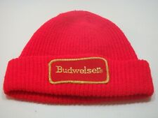 VINTAGE BUDWEISER KNIT HAT  WINTER HAT  BEANIE  RED  GOLD LETTERING   DRIVER