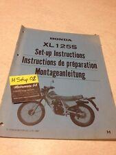 Honda XL125S XL125 S XLS 125 instruction preparation setup manuel set-up