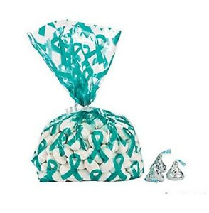 Cancer Awareness Ribbon Cello Bags RED TEAL PURPLE YOU CHOOSE LOT OF 12