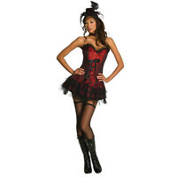 Women's Gothic Red Saloon Girl Halloween Sexy Costume Corset Skirt Choker Hat