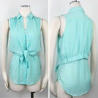 Maeve Womens Shirt Mint Layered Tie Button Up Flowy Blouse Vest Sleeveless Top S