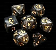 New 7 Piece Black Gray Gemini Polyhedral Dice Set – Gray Bag – RPG D&D