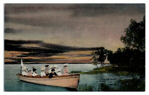 Early 1900s Beaver Lake from Outing Club, Beaver Dam, WI Postcard *5F(3)10