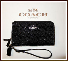 NWT Coach Signature Debossed Leather Double Zip Phone Wallet BLACK w/ Receipt