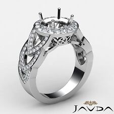 Round Semi Mount Halo Pave 1.25Ct Diamond Engagement Designer Ring Platinum 950