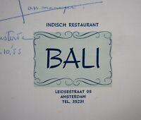 Vintage Restaurant Menu Indisch Bali Leidsestraat 95 Amsterdam Netherlands 1955