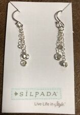 "Silpada Sterling Silver Chain Cubic Zirconia ""Marvel"" Earrings  W2793  NEW"