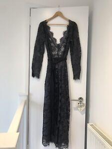 MYLA Grey Blue Sparkle Lace Gown Robe Agent Provocateur Size M 8 10 12 UK New!