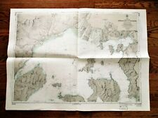 1972 Soundings Map APPROACHES TO HIROSHIMA Japan Naikai Inland Sea 30x42""