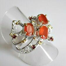 Handarbeit Karneol Rhodolith Damen Ring 925 Silber Gelbgold 19,4 mm 61