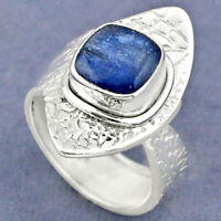 3.44cts Natural Blue Kyanite 925 Sterling Silver Adjustable Ring Size 6.5 R63398