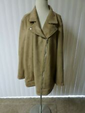 28ef2f053ec74 NWT Plus Size 4X Old Navy Womens Tan Brown Faux Suede Motocycle Zip Jacket